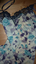Elle Macpherson CAMISOLE UK 12 Floral PURPLE BLUE IVORY Cami MEDIUM M NEW Chic!!