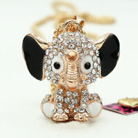 Betsey Johnson Black Enamel Crystal Cute Elephant Pendant Sweater Chain Necklace