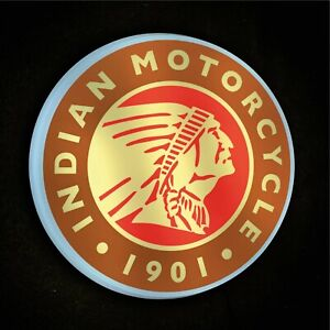 INDIAN MOTORCYCLE LED ILLUMINATED WALL LIGHT SIGN GARAGE AUTOMOBILIA SCOUT CHIEF