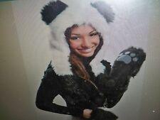 Faux Fur PANDA LONG ANIMAL hood/hat cap  winter/Fashion/Halloween Costume