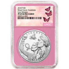 2018-P Proof $1 Breast Cancer Awareness Silver Dollar NGC PF69UC ER Label Pink C