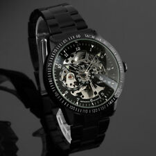 Mens Watch Mechanical Black Stainless Steel Case Self-winding Analog Business