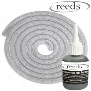 8mm Stove Rope White Door Seal Optional Reeds Glue 50ml, Heat Resistant Rope