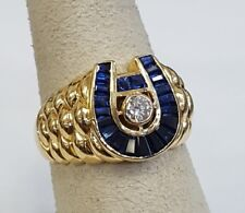 Designer Men's Lucky Horseshoe Sapphire & 0.20ct Diamond Ring 18K YG Sz 11