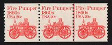 UNITED STATES, SCOTT # 1908, COIL STRIP OF 3 PNC # 4, FIRE PUMPER 1860s, MNH