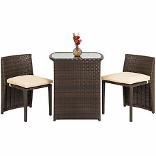 Outdoor Patio Furniture Wicker 3pc Bistro Set Glass Top Table, 2 Chairs- Brown