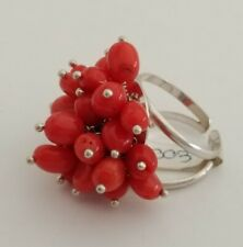 sterling silver, adjustable measure, size 8 Natural red coral baroque beads ring