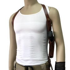 Shoulder Underarm Brown Leather Vertical Holster for Right Hand Gun Holster