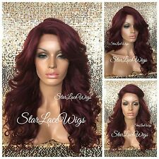 Synthetic Lace Front Wig Red Burgundy Curly Layers Bangs Heat Safe Ok Side Part
