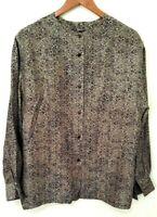 Linda Allard Ellen Tracy Cheetah Animal Print Top 100% Silk Blouse Size US 12