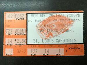 1977 San Diego Padres Ticket Pass Lou Brock SB 893 Ties/Tops Ty Cobb Life Record