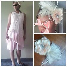 Vintage 1920s Flapper Gatsby Party Pink Dress M L, XL; W/ MATCHING HEADPIECE!