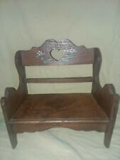 """Very Nice Wooden Heart Doll Bench Hand Painted Flowers Around Heart 7.5"""" Tall."""