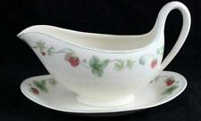 Wedgwood RASPBERRY Queen's Ware Gravy Boat with Underplate GREAT CONDITION