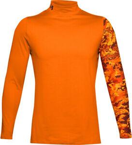 NWT Under Armour Men ColdGear Print Mock Neck Long Sleeves Shirt Top Tee 1360577