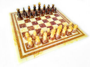 Amber Russian Chess Set made in Kaliningrad Region