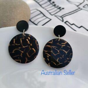 Round Acrylic Acetic Acid Druzy Black Earrings- AU SELLER