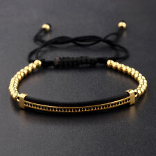 Luxury Men's Micro Pave CZ Ball Crown Braided Adjustable Bracelets Copper Beads