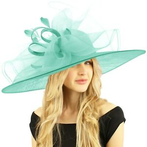 Queen of the Ball Sinamy Floral Spray Feathers Derby Floppy Dress Wide Hat