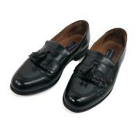 Bostonian Loafers Apron Toe Tassel Black Leather Slip On Mens Shoes Size 10 M