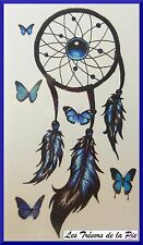 TATOUAGE TEMPORAIRE TATOO (x5) - Body art - Dreamcatcher papillons - Noir & bleu