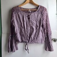 MUDD Purple Floral Lace Up Long Bell Sleeve Tie Knot V-Neck Blouse Top Medium