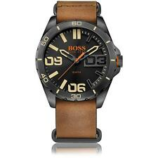 HUGO BOSS MEN'S 48MM BROWN LEATHER BAND IP STEEL CASE QUARTZ WATCH 1513316