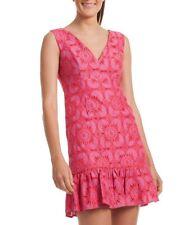 Trina Turk Carpinteria Peony Pink Lace Ruffle Hem Dress Sz 10