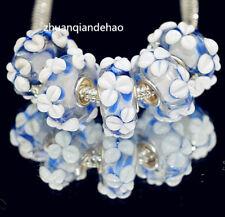 5pcs MURANO Lampwork charm Beads fit 925 silver European Bracelet Chain a1060
