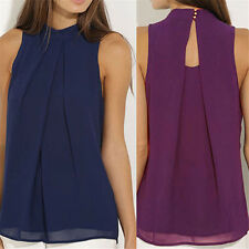 Lady Casual Sleeveless Chiffon Vest Women T Shirt Blouse Ruffle Tops Solid Color