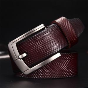 Men's Jeans Belts Pin Buckle Cowhide Genuine Leather Belts Waistband Strap Belt