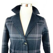 Tahari Wool Blend Double Faced Felted 2 Button Overcoat Black Plaid Womens Large