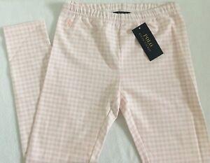 Polo Ralph Lauren Girls Leggings Light Pink Gingham Size M (8-10) NWT