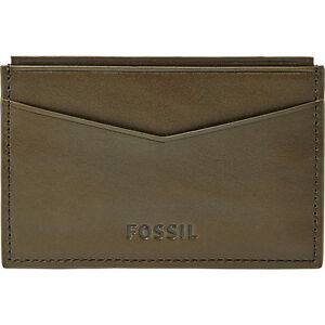 NEW- FOSSIL TRUMAN OLIVE GREEN CARD CASE LEATHER MEN'S WALLET