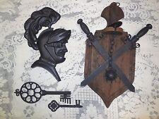RARE VTG Crossed Medieval Swords & Spiked Ball Wood Shield knight skeleton keys