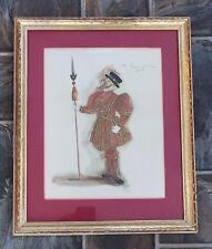 VINTAGE 1964 SIGNED MN YEOMAN OF THE GUARD WATERCOLOR SKETCH FRAMED MATTED ART