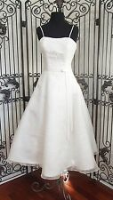 A1419w  PRIVATE COLLECTION 8878 SZ 8 TEA LENGTH WEDDING GOWN DRESS