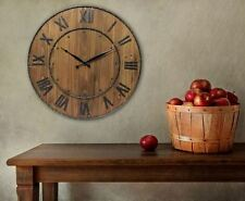 Large Rustic Wall Clock, Wine Barrel Style Roman Numeral Brown Wood & Steel, 24""