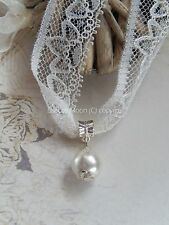 Off White Lace Choker/Necklace White Pearl Bead Vintage/Wedding/Bridal/Prom UK