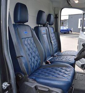 Ford Transit Custom Waterproof Diamond Quilted Leather Look Navy Van Seat Covers