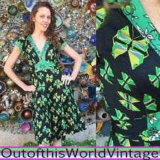 ISSA LONDON 100% SILK KNIT BUTTERFLIES Wrap Dress ART DECO Print Green Black 2 S