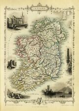 Ireland Antique Illustrated Map Tallis 23.2 x 16.8 inch