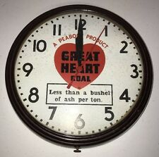 Vintage Great Heart Coal Clock Antique Rare Ash Glass Face Clock 110v 15""