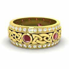 Certified Ruby & SI Diamond 14k Yellow Gold Celtic Men's Wedding Band Ring Sz 11