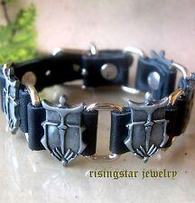 Men Cool Gladiator Protection Shield Theme Leather Hip Hop Bracelet Wristband