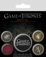 GAME OF THRONES (The 4 Great Houses) Badge Pack of 5 Safety Pin Backed Badges