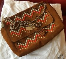 Mulberry Brown Leather Studded Zig Zag Large Lily Bag Handbag with Tassel