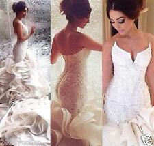 Sexy Mermaid Wedding Dress White/Ivory Lace Beading Bridal Ball Gown Custom Size