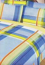 SINGLE BED COMP SET STYLUS CHECK BLUE YELLOW ORANGE DUVET COVER VALANCE SHEET