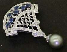 14K white gold beautiful 2.52CT diamond/Blue sapphire & 11.3mm Gray pearl brooch